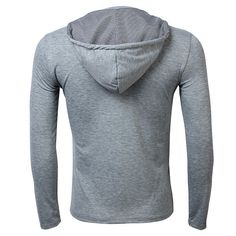 Mens Spring Fall Solid Color Long Sleeve Hooded Cardigan T-Shirt - US$17.21