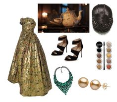 """""""Mrs. Pots"""" by projectrunwayguru ❤ liked on Polyvore featuring Disney, Carvela, Giorgio Armani, BeautyandtheBeast and contestentry"""