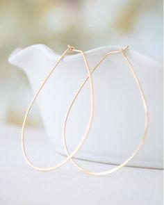 Gold Teardrop Hoop Earrings