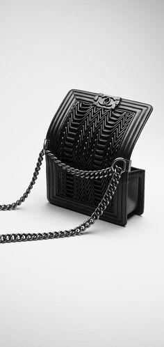 Small boy CHANEL flap bag, pleated lambskin-black - CHANEL