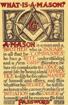 Mason - for my grandfathers (of a couple or 3 greats who were Masons.)