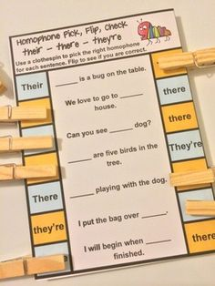 Homophones Pick, Flip and Check cards by Games 4 Learning - These self correcting homophones cards are the fun way to review correct usage of these homophones! $