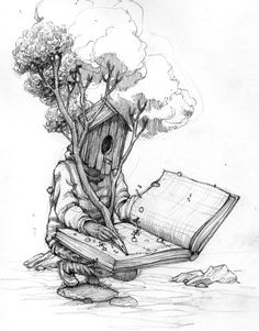 Tree ents are the world's scribes, history keepers, and guardians of books and libraries. Image: rustamqbic Tree ents are the world's scribes, history keepers, and guardians of books and libraries. Art Drawings Sketches, Cute Drawings, Arte Hip Hop, Surreal Art, Art Plastique, Doodle Art, Art Inspo, Painting & Drawing, Fantasy Art