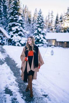 Gal Meets Glam Winter Alpaca Cape, Rag & Bone Sweater, Acne Studio Scarf, Hudson Jeans, Stuart Weitzman Boots