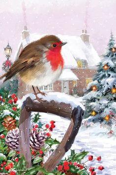 Dollar Store Christmas, Christmas Bird, Christmas Scenes, Christmas Past, Vintage Christmas Cards, Christmas Balls, Christmas Pictures, Winter Christmas, Christmas Wreaths