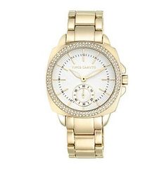 Vince Camuto™ Women's Gold-Plated Square Crystal Dress Watch
