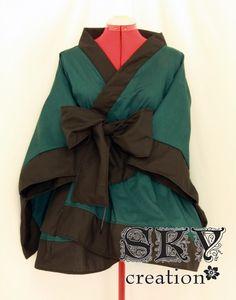 Custom Forest Green X Black Kimono Mini Dress with Descending Hem. $60.00, via Etsy.