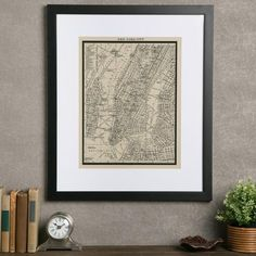 Vintage New York City Map | Take a trip through Gotham with this framed vintage giclee map.