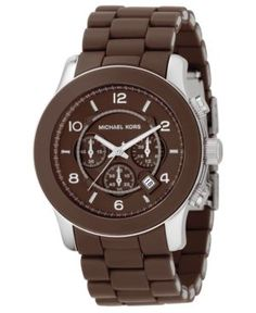 Chronograph Stainless Steel and Chocolate Brown Polyurethane Bracelet 45mm