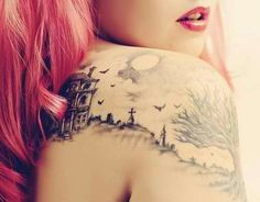#castle #fairytale #cool #story #road #shoulder #ink #tattoo #inked #tattooed #tree #birds
