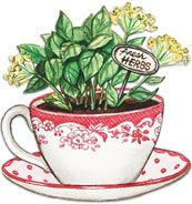 Herbs in a Teacup. Artwork by Gooseberry Patch.