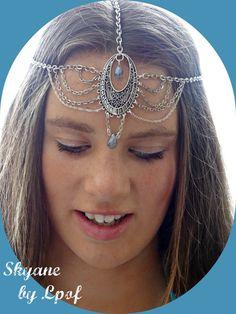 Headpiece, Formal Headpiece, Hair Accessory, Blue Head Chain, Head Jewelry, Chain Head Piece, Headband, Festival, Boho Headpiece, - Skyane