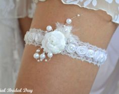 Wedding Garter White Lace And Organza Flowers Bridal Set Apliqued Handknitted With Pearls