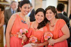 Entourage dresses in coral silk chiffon by Tammy Tan.