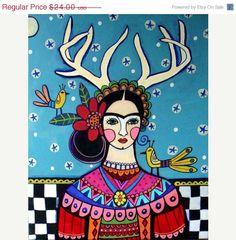 50 OFF   Frida Kahlo Deer Antlers Mexican Folk by HeatherGallerArt, $12.00