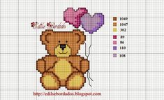 Arts and embroidery sun: Bears Graphics Cross Stitch For Kids, Cross Stitch Animals, Cross Stitch Flowers, Valentine Gift Baskets, Valentine Gifts, Cross Stitch Needles, Cross Stitch Charts, Beading Patterns, Cross Stitch Patterns