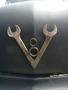 V8 Wall Art - Made from two wrenches and two bolts
