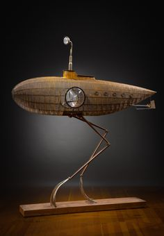 New Work by artist Rik Allen. Steampunk Airship, Steampunk Lamp, Dieselpunk, Arte Robot, Robot Art, Steam Punk, Metal Design, Spaceship Design, Robot Concept Art