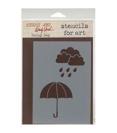 "Wendy Vecchi Studio Stencil Collection 6.5""X4.5""-Rainy Day"