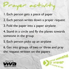 GROUP PRAYER ACTIVITY Here's an interactive prayer activity for any group size.