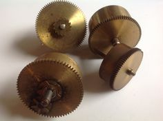 Vintage collection brass clock mainspring and case parts by Hannahandhersisters on Etsy