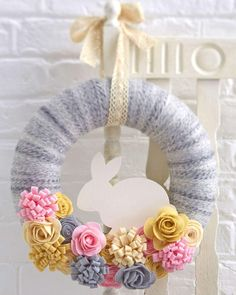 Elegant Wreath Made With Thread And Flowers For Easter
