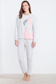 Polar long pyjama including long sleeve t-shirt with flamingo textured patch and long dotted pants with elastic waistband. Funny dreams! | Sleepwear | Women'secret
