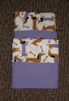 Doxie Dacshund Dog Puppy Purple holiday winter Flannel pillowcases PAIR handmade standard/queen cotton by Gingerbread123 on Etsy