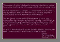 Jessica from Twilight's Graduation Speech:)