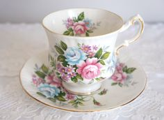 Paragon Fine Bone China Flower Festival - B Tea Cup and Saucer