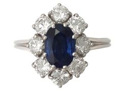 'Oval Cut Sapphire Ring - Vintage French' - For more dress & cocktail rings, join us at http://www.acsilver.co.uk/shop/pc/Dress-Cocktail-Rings-c176.htm