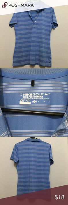 NIKE GOLF TOUR PERFORMANCE DRI FIT POLO SHIRT MENS NIKE GOLF TOUR PERFORMANCE White / Blue STRIPED DRI FIT POLO SHIRT MENS M.Nike Tour Performance Dri Fit Men's M Polo Golf Shirt. Blue with White stripe pattern, 100% polyester. This Item have been Worn but has no visible signs of wear in Excellent Condition.Thank You Nike Shirts Polos