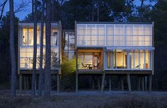 Prefab House Design in Maryland - Stunning, Stilted, Sustainable Loblolly by Kieran Timberlake Architects New Architecture, Sustainable Architecture, Sustainable Design, Beautiful Architecture, Contemporary Architecture, House On Stilts, Prefab Homes, Tiny Homes, Green Building