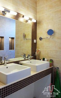 Sink Mosdó Tiles and mosaic Corner Bathtub, Bathroom Lighting, Tiles, Mosaic, Sink, Mirror, Home Decor, Bathroom Light Fittings, Room Tiles