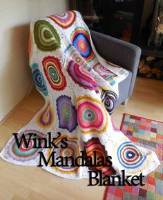 Wink's mandala blanket #crochet pattern free from A Spoonful of Yarn