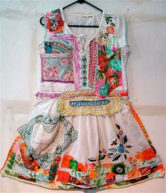 Vintage & Antique Textile Fabric Summer DRESS Wearable Art Collage mybonny