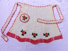 Vintage crocheted apron from 50's by Threadbender64 on Etsy