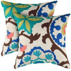 Love the modern floral in this Ava Pillow - Set of 2 from the Rizzy Home event at Joss and Main! Floral Pillows, Decorative Throw Pillows, Embroidered Pillows, Bright Pillows, Modern Pillows, Colorful Pillows, Pillow Set, Pillow Covers, Pillow Talk