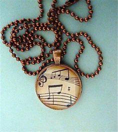 Vintage musical notes pendant necklace music teacher gift.. $9.00, via Etsy.