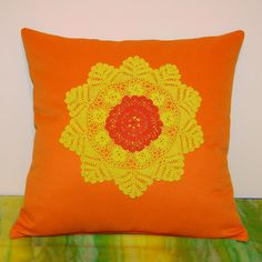 Orange & yellow doily cushion/pillow cover Doily Delight  by 4eggs, $42.00