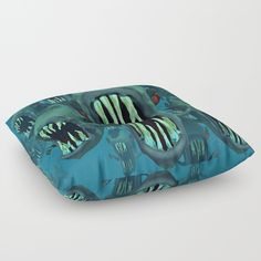 piranhas Floor Pillow by abeerhassan Spot Cleaner, Dimples, Tack, Penguin, Floor Pillows, Fill, Plush, Cushions