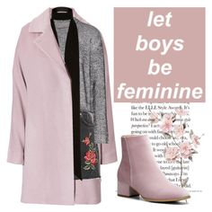 Pink Coat by vicki-shiu on Polyvore featuring polyvore moda style T By Alexander Wang Maison Margiela Topshop River Island fashion clothing Pink Boots Shiny denimskirt