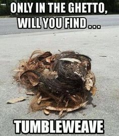 Only in the ghetto you will find a tumbleweave