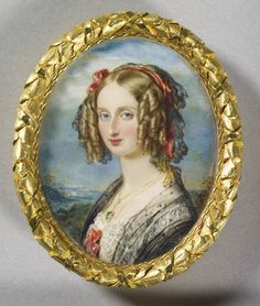 Portrait of a young eurasian lady for me it is chinese woman in portrait miniature of louise queen of the belgians 1812 1850 painted by fandeluxe Images