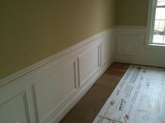molding for the dining room wall   This shows a wall with baseboard, chair rail and panel moulding, all ...