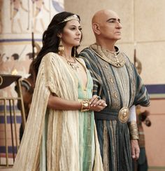 "Sibylla Deen as Ankhesenamun and Ben Kingsley as Ay in the miniseries ""Tut""."