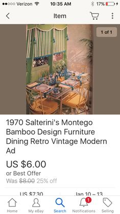 Vintage Patio, Retro Vintage, Dining Furniture, Furniture Design, Salterini, Bamboo Design, Ebay Search, Wrought Iron, Ads
