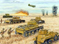 Soviet troops and tanks advance during the Battle of Khalkin Gol, Mongolia (Soviet vs Japanese)