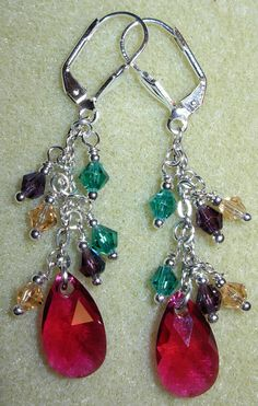 Ruby teardrop with green, purple and champagne bicones