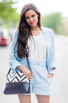 Soft blue shorts and jacket zig zag bag Crimenes de la Moda
